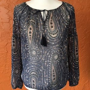 Lucky Brand NWOT Sheer Paisley Top with tassel tie
